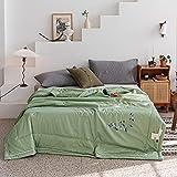 Manta de Microfibra Color sólido, Extra Suave Mantas para Sofás, Multifuncional para sofá, Cama, Viajes, Adultos, niños -Menta Verde_150 * 200 cm