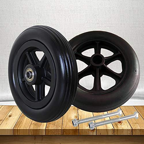 SMYH Lenkrollen Für Rollstuhl Vorder Räder Verschleißfester Vollreifen, Für Viele Standard-Rollstühle 1 Paar Schwarz, Grau