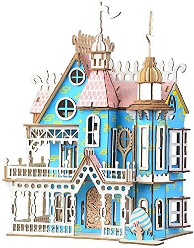 1 Juego de Rompecabezas 3D Casa de Madera Kit de Bricolaje Puzzle Dream Villa Jigsaw Juguetes Modelo Regalos para niños y Adultos