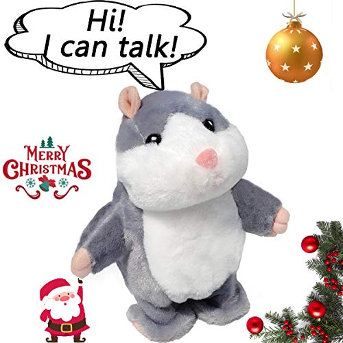 Upgrade Version Talking Hamster Mouse Toy - Repeats What You Say and Can Walking - Electronic Pet Talking Plush Buddy Hamster Mouse for Child Kids Gift Party Toys (Gray)