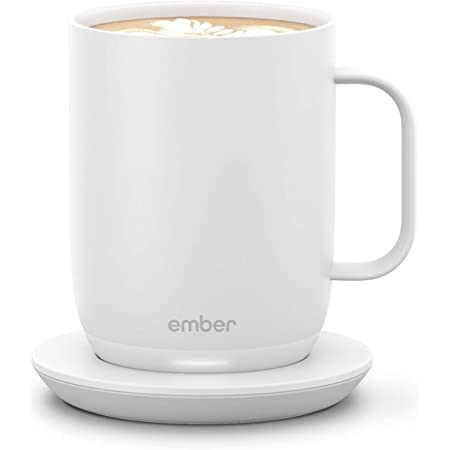 Ember Temperature Control Smart Mug 2, 14 oz, White, 80 min. Battery Life - App Controlled Heated Coffee Mug - Improved Design