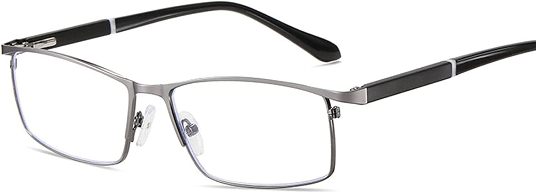 LMDGDS Reading Glasses with Case Men's Blue Light Blocking Eyeglasses Metal Frame Computer Readers with Spring Loaded Hinges
