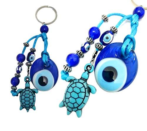 Schlüsselanhänger Nazar Boncuk Anahtarlık mit Glasperlen Handgemacht Böser Blick Glücksbringer Talisman Türkisches Blaues Auge, Evil Eyes (Model - 2)