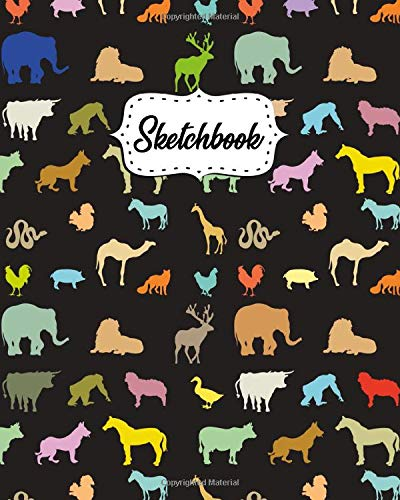 Sketchbook: Blank Notebook for Drawing, Writing, Painting, Sketching & Doodling, 100 Pages, 8x10 - Cute Colorful Exotic Animals Silhouette