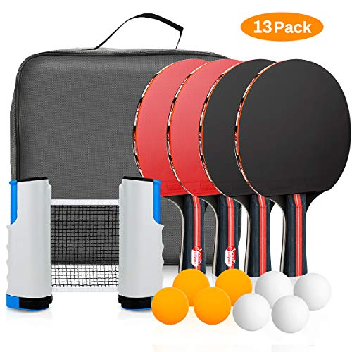 Powcan Ping Pong Set Portable Table Tennis Set Ping-Pong Game Pingpong Racket Set for Table Tennis Training with 4 Table Tennis Bats/Rackets/Paddles, 8 Ping-Pong Balls, 1 Retractable Table Tennis Net