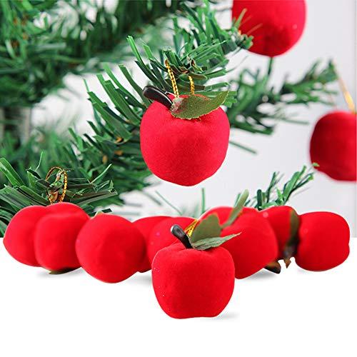 Bodhi2000 Arbre de Noël Décorations de Noël, 12 Pcs Apple à Suspendre Décorations Ornement Décoration à Suspendre fête de Vacances Décor Cadeau de Noël, Red, Taille Unique