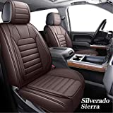 YIERTAI Silverado Sierra Car Seat Covers Full Set Fit for 2007-2021 1500/2500/3500 HD Pickup Waterproof Faux Leather Crew Double Extended Cab Cushion Covers Protectors(5 PCS Full Set / Brown)