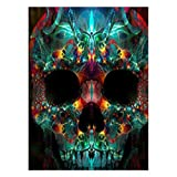 SINACO 5D Diamond Painting by Number Kits Full Round Drill for Adults Kids, Craft Rhinestone with Diamonds Set Arts Decor Color Skull 11.8x15.7in 1 Pack by