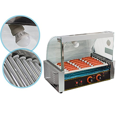 ixaer Hot Dog Grill Machine, Commercial Electric 18 Hot Dog Hotdog 7 Roller Grill Cooker Machine With Cover 1050W-Shipment from USA