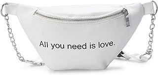 Wultia - Bags for Women Women Fashion Letter Chain Leather Messenger Bag Shoulder Bag Chest Bag Bolsa Feminina White