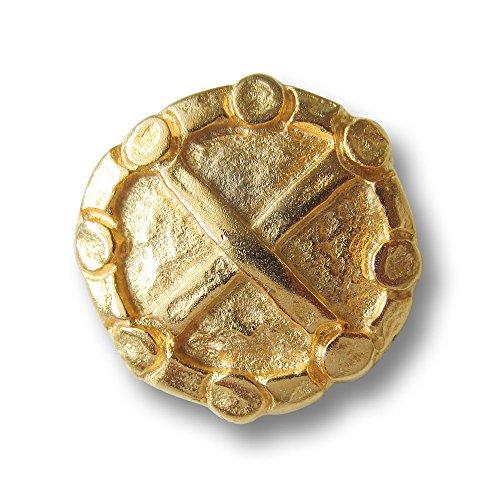 Knopfparadies - 5er Set leicht gewölbte altertümlich wirkende Metall Ösen Knöpfe mit gehämmert wirkender Oberfläche, Kreuz und Kreis aus Ziernieten / matt gold / Metallknöpfe / Ø ca. 21mm