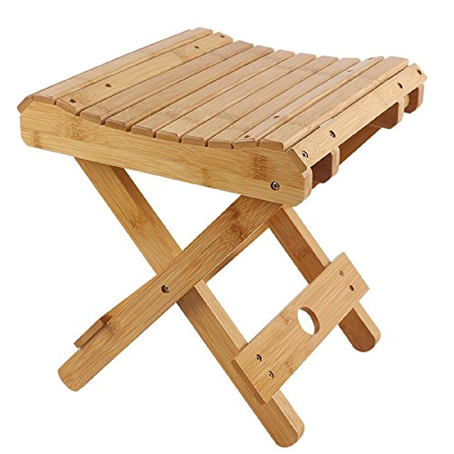 GAOJIAN Tabourets pliants Portable Bamboo Household Solid Wood Campstool Outdoor Fishing Chair Patio Square Small Bench, a