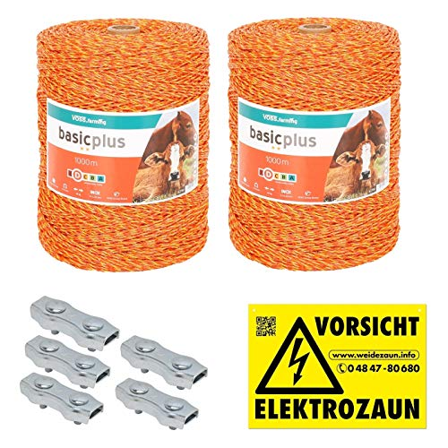 VOSS.farming 2000m Weidezaunlitze Weidezaun Elektrozaun Litze Weidezaunseil Kordel Zaun + Verbinder + Warnschild