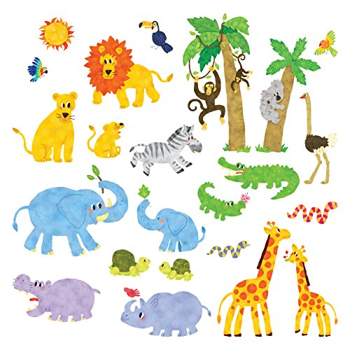 Decowall DS-8013 Animaux Jungle Autocollants Muraux Mural Stickers Chambre Enfants Bébé Garderie Salon (Petit)