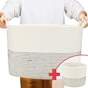 ZOEMO 2pc XXXL Large Cotton Rope Basket with Handles 22″x14″ Laundry Basket, Woven Storage Basket, Large Basket, Blanket Basket, Toy Basket, Pillow Basket, Laundry Hamper