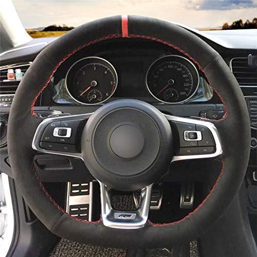 HCDSWSN DIY Hand nähen Auto Lenkradabdeckung schwarzfür VW VW Golf 7 GTI Golf R MK7 VW Polo GTI Scirocco 2015 2016