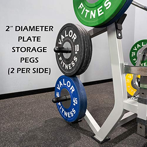 Valor Fitness BF-49 Olympic Weight Bench Press Station with Adjustable Safety Catches, Spotter Stand, and Weight Plate Storage Pegs