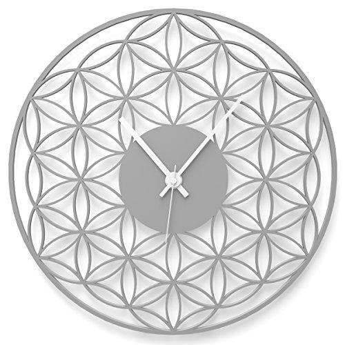 WANDKINGS Wanduhr Blume des Lebens aus Acrylglas, in 11 Farben erhältlich (Farbe: Uhr = Grau glänzend; Zeiger = Weiß)