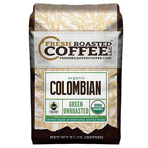 Fresh Roasted Coffee LLC, Green Unroasted Colombian Sierra Nevada Coffee Beans, Fair Trade, USDA Organic, 5 Pound Bag