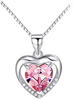 Lam Sence Sterling Silver 8mm Heart Shape Crystal&Cubic Zirconia Pendant Necklace
