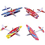2 Pack Electric Airplane Toys,4 Color Flying Glider Plane for Kids Outdoor Sport Toy, Foam Education Glider Aeroplane for boys Adults, Family Flying Game Toy,Gift for Kids Teens, Random Pattern