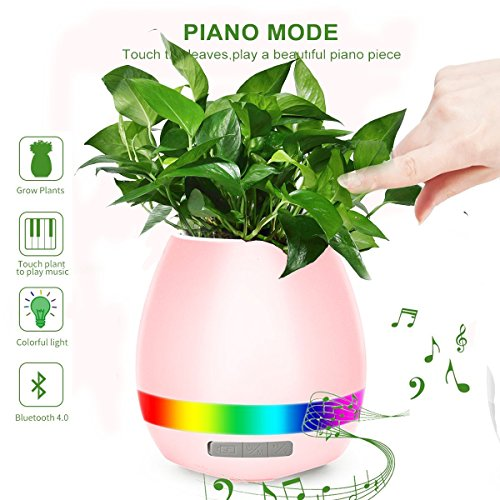 Music Flower Pot, HoverFun Play Piano On A Real Plant, Smart Colorful LED Night Light Round Plant Pots, Bluetooth Wireless Speaker For Office Home Decor (Without Plants) (pink)