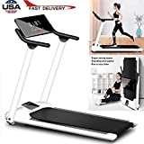 sakd Under Desk Treadmill, 51' White Elegant Folding Treadmill with Slanted LCD Screen, Foldable Electric Motorized Treadmill & Installation-Free Portable Walking/Running Trainer