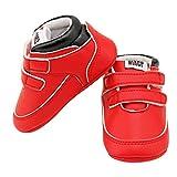 Logobeing Zapatos De Bebé Botines Zapatillas Deportivas para bebés recién Nacidos Primeros Pasos Zapato de Cuero Antideslizante Inferior Suave Infantil para niños pequeños (Edad: 0~6 Mes, Rojo)
