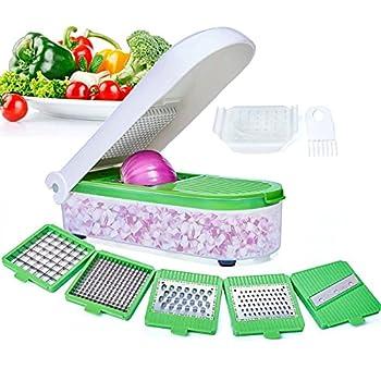 LHS Vegetable Chopper Pro Onion Chopper Slicer Dicer Cutter - Cheese & Veggie Chopper - Food Chopper Dicer with 5 Blades  Green)