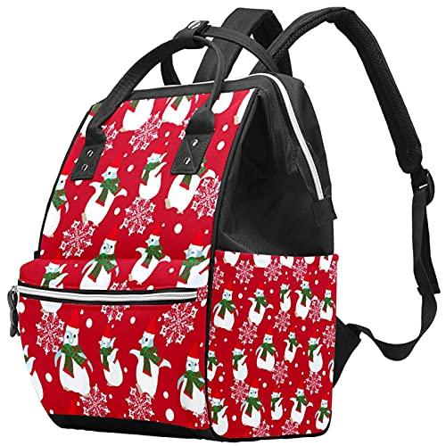 Yuelai Borsa per pannolini Zaino per laptop Zaino da viaggio per donna, motivo di sfondo natalizio