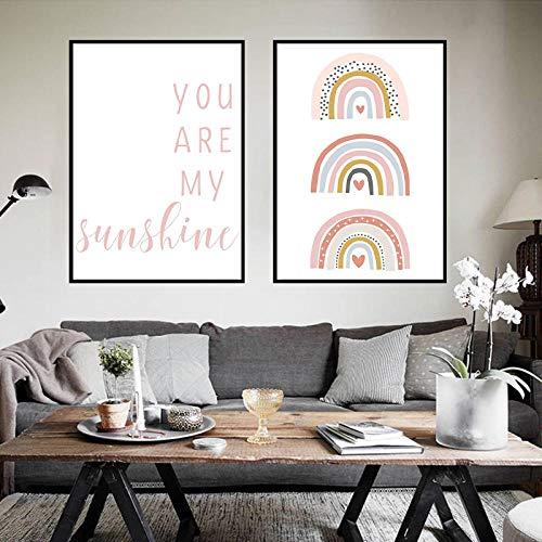 BGMBB Sunshine Rainbow Print Canvas Painting Murale Immagine Camera dei Bambini Poster Baby Room Home Decor 40x60cmx2 (Senza Cornice)