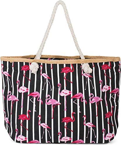 styleBREAKER Bolso para la Playa XXL con Estampado de Rayas y flamencos y Cremallera, Bolso de Hombro, Bolso para Compras, Mujer 02012252, Color:Negro-Blanco