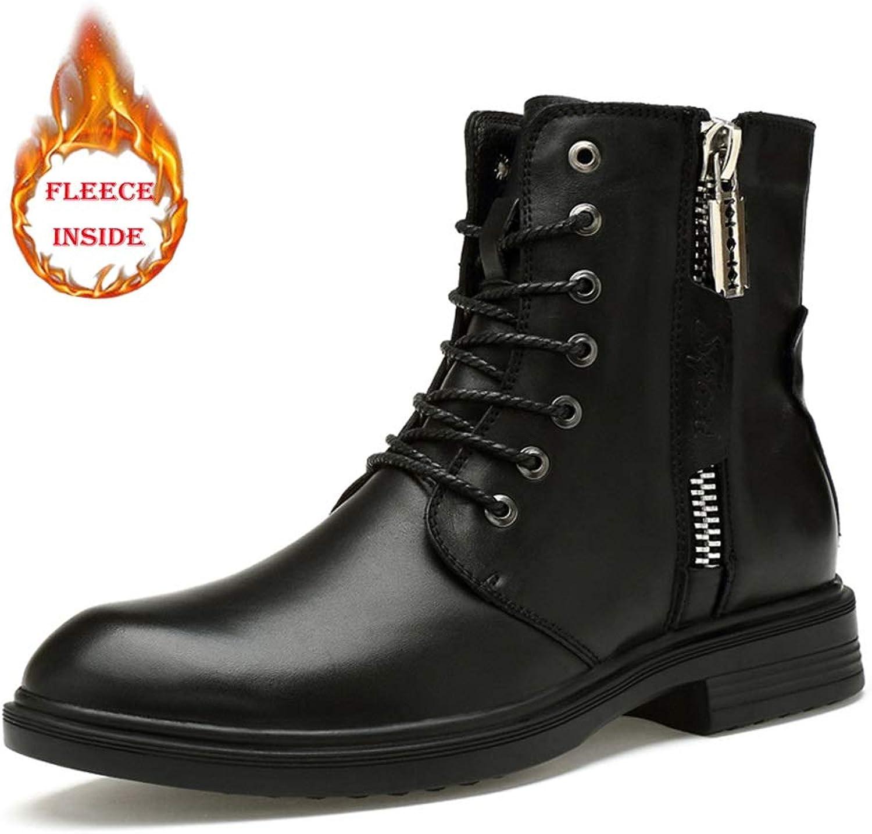Herren Stiefel Casual Persönlichkeit Bequemer Reißverschluss Winter Fleece Inside High Top Boot,Grille Schuhe (Color : Warm Black, Größe : 44 EU) B07PB2ZBXY  | Genial Und Praktisch