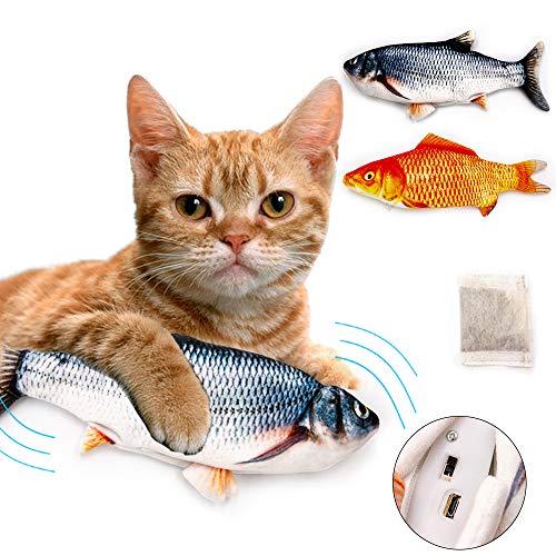 Labeol 2 Stück Elektrisch Spielzeug Fisch Katzenminze Katzenspielzeug Fisch Interaktive Plüsch Fisch USB Charge für Katze zu Spielen Beißen Kauen und Treten Simulation Plush Fisch