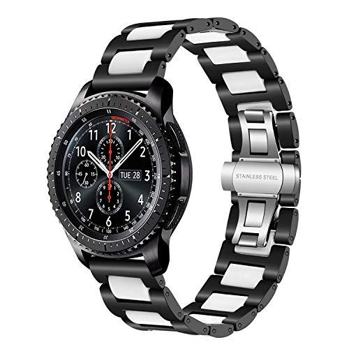 Gear S3 Frontier/Classic Watch Correa, TRUMiRR 22mm correa de reloj de acero inoxidable y cerámica correa de liberación rápida para Samsung Gear S3 Frontier, Moto 360 2 46 mm,Asus ZenWatch 1 2 hombres
