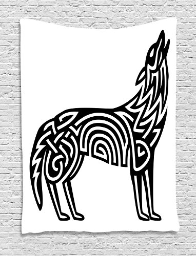 Lunarable Crying Wolf Tapestry, Monochrome Celtic Pattern of Howling Canine Tribal Tattoo Design, Wall Hanging for Bedroom Living Room Dorm Decor, 60' X 80', Black and White