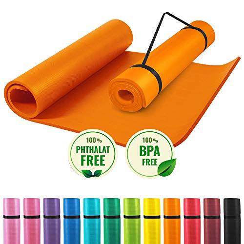 GORILLA SPORTS® Yogamatte mit Tragegurt 190 x 60 x 1,5 cm rutschfest u. phthalatfrei – Gymnastik-Matte für...