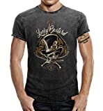 Rockabilly Greaser - Camiseta con aspecto vaquero desgastado Negro lavado. XXL