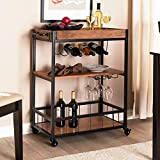 Bar Cart for Home Rolling Wine Cart on Wheels with Metal Frame Removable Box Container Handle Rack Industrial Kitchen Serving Cart with Wine Tea Liquor Shelves Glass Holder Removable Top