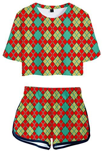 Silver Basic Idea Regalo Animal Merch Crossing Corta Top e Pantaloncini 3D Stampa Videogiochi Corta Vestiti,2708-1,XS