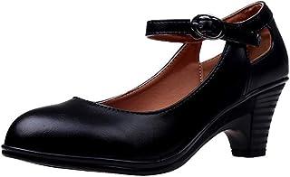 IMJONO Chaussures FemmeMode Solide Couleur Rond Toe Cuir SquareBoucle de Talon Chaussures Simples Carrière Femmes Talon ...
