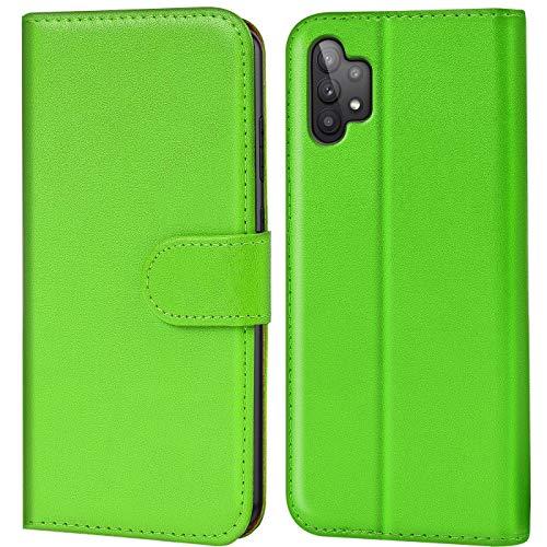 Verco Handyhülle für Samsung Galaxy A32 5G Hülle, Bookcase Tasche Flipcover für Samsung A32 5G Hülle [Kartenfächer/Aufstellfunktion], Grün