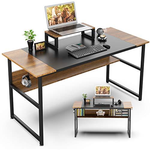 Nisear Escritorio de Computadora, Mesa de Ordenador Escritorio Estructura de Acero con Soporte para Computadora, Mesa de Estudio Portátil Grande para Oficina en Casa (Nogal)