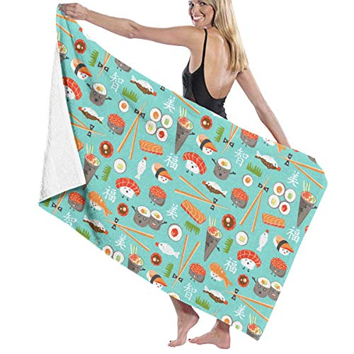 Read About Japanese Sushi Kawaii Cute Delicious Rice Themed Party Pattern Printed Beach Blanket Mat Pool Bath Cape Towels Swimming Bathroom Shower Room Home Decor Decorations Ornament Large