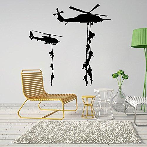ufengke® Kreativ Militär Hubschrauber Wandabziehbilder,Wohnzimmer Schlafzimmer Entfernbare Wandtattoos Wandbilder