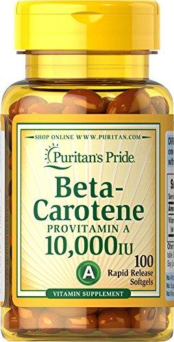 Puritans Pride Beta-Carotene 10,000 IU Softgels, 100 Count