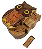 Oberstuff.com Owl, All Natural Exotic Woods Puzzle Box, 5.25 x 3.25 x 2.25 with Sliding Wooden Key Lock, Sliding Cover and Inner Lid to Hidden Compartment. Hand-Made Wood Onlay Design on Lid.