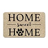 Artoid Mode Home Sweet Home Paw Decorative Doormat, Pet Dog Cat Low-Profile Floor Mat Switch Mat for Indoor Outdoor 17 x 29 Inch
