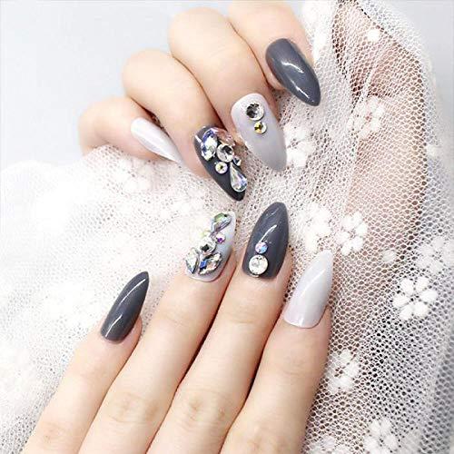 CLOAAE 24pcs Extra Long Fake Nails Rhinestone Black Press On Nails Custom Handmade Designed Artist False Nail Wedding Bride