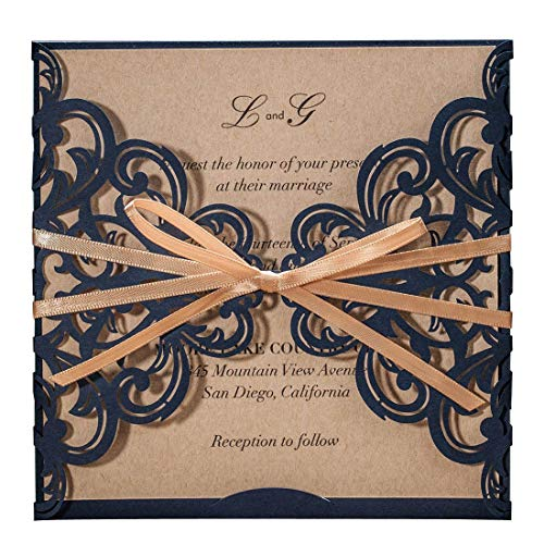 50PCS Wedding Invitations Jofanza Wedding Invitations Cards Laser Cut Rustic Navy Blue Square Invitations with Bow Lace Sleeve for Engagement Baby Bridal Shower Birthday Quinceanera (CW6175B)